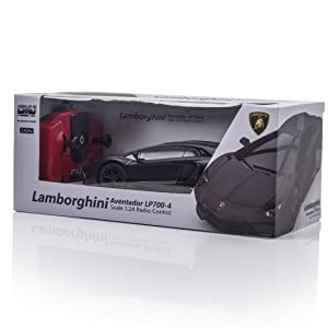 Black Lamborghini RC car in CMJ RC cars box with controller and Lamborghini official license logo