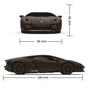 Black Lamborghini remote control car side and front view with dimensions 48 x 96 x 199mm 1:24 Scale