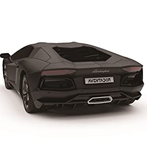 black lamborghini remote control car angled rear view. aventador number plate, moulded tyres