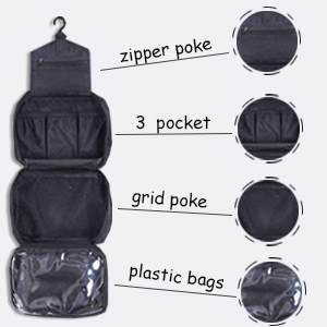 4 Compact Compartment Hanging toilet bag