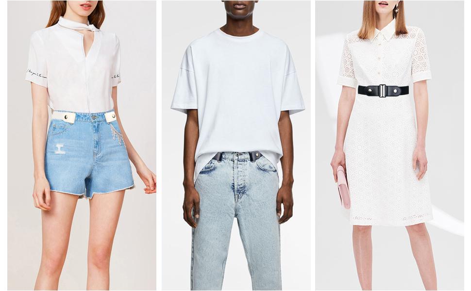 white elastic belt womens belts