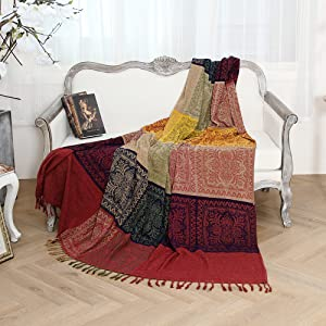 220cm X 260cm Chenille Jacquard Tassels Throw Blanket Sofa
