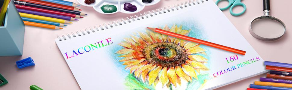 Laconile 160 Lápices de Color aceitosa de arte colores vibrantes pre-afilada Set para..