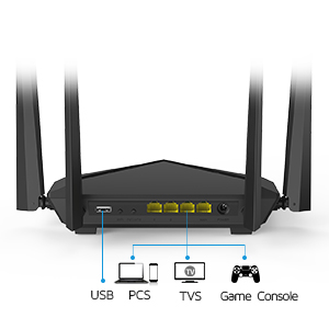 1200Mbps Router Dual-Band 4 Gigabit Ports Home Optical Fiber WiFi Power-Saving Support with Firewall 802.11ac Wave2 Standard