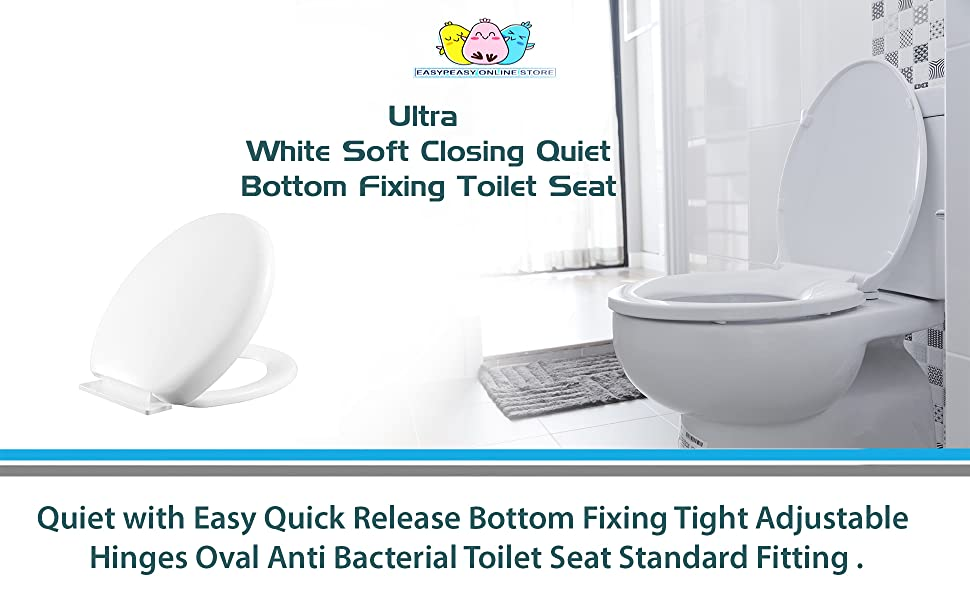Cool Ultra White Soft Slow Close Toilet Seat Quiet Easy Quick Release Bottom Fixing Adjustable Hinges Oval Anti Bacterial Toilet Seat Standard For Toilets Forskolin Free Trial Chair Design Images Forskolin Free Trialorg