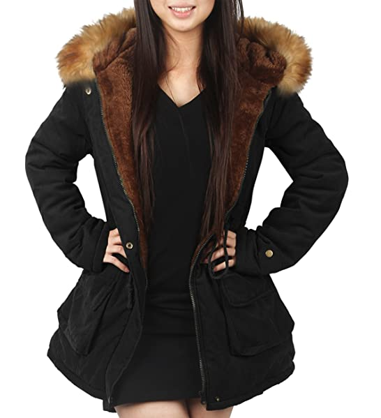 4How Parka Coat With Hood for Women Black Olive green UK Size 10 ...