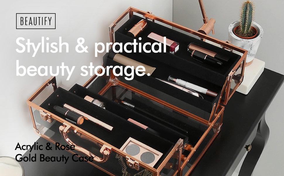 beautify beauty case rose gold acrylic make up storage