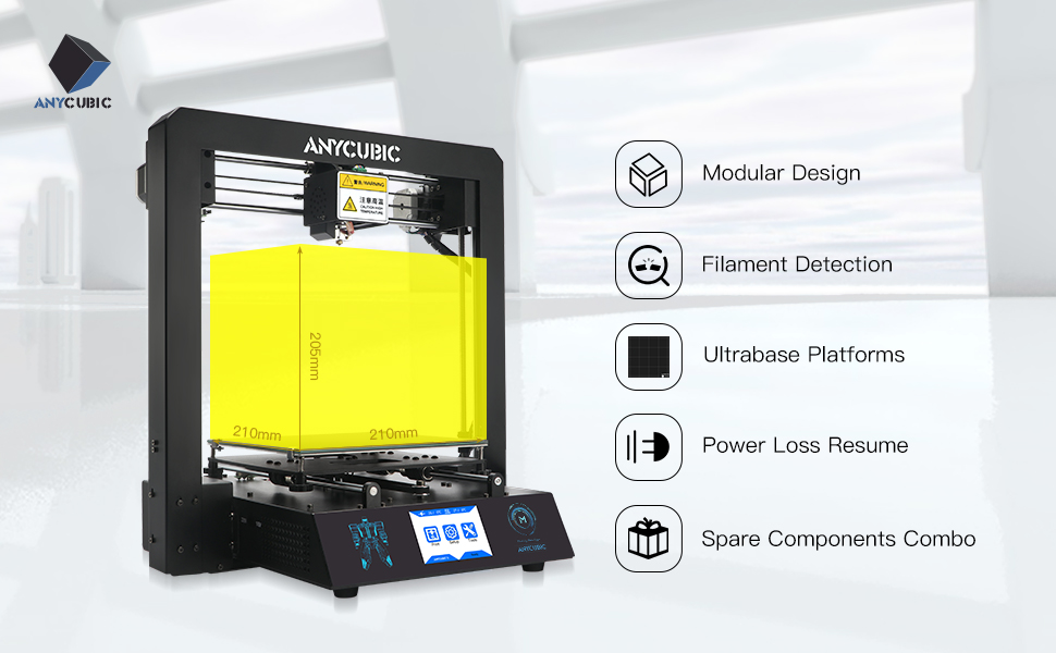 ANYCUBIC I3 MEGA 3D Printer Pre-assembled with Ultrabase hotbed and Touch  Screen Large Print Size, Works with PLA, ABS, HIPS, WOOD (ANYCUBIC M: Works