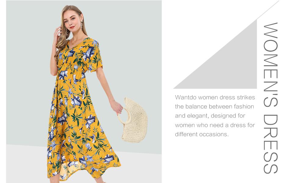 Wantdo Womens Halter Boho Maxi Dress Summer Floral Sleevesless V Neck Casual Long Dresses