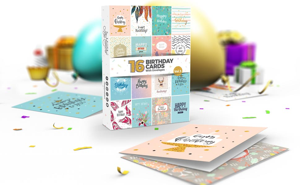 16 X Birthday Cards By Joy Masterstm Vol3 Boxed Multipack With