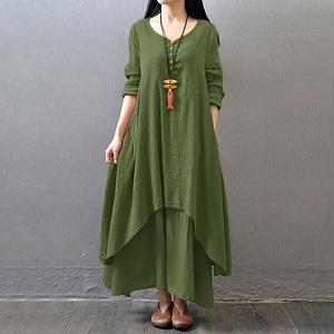 c606dc5aa42 Romacci Women Boho Dress Casual Irregular Maxi Dresses Vintage Loose ...