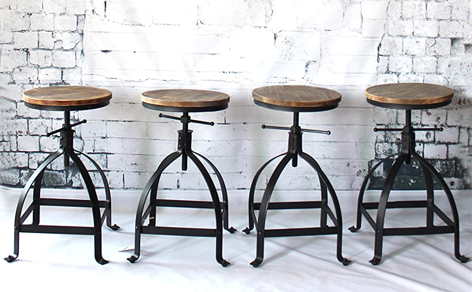 new styles 601d9 1636c IKAYAA Kitchen Stool Dining Stool Bar Stool Chair Round Industrial Style  Adjustable Height Swivel Natural Pinewood & Steel