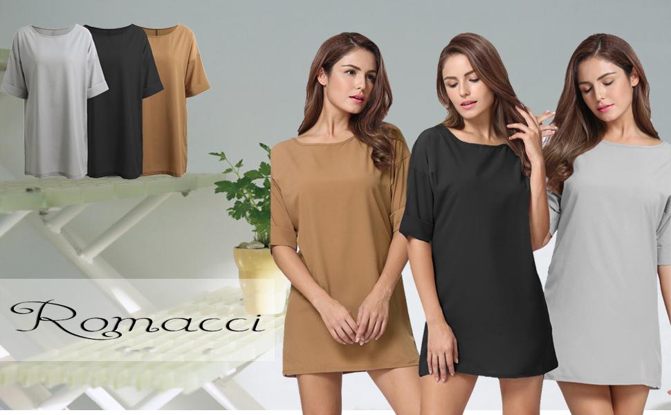 3a008b0045043 Romacci Women s Casual Loose Dress Swing T-Shirt Dress Short Sleeve Mini  Dresses Basic Tunic Dresses Grey Black Khaki