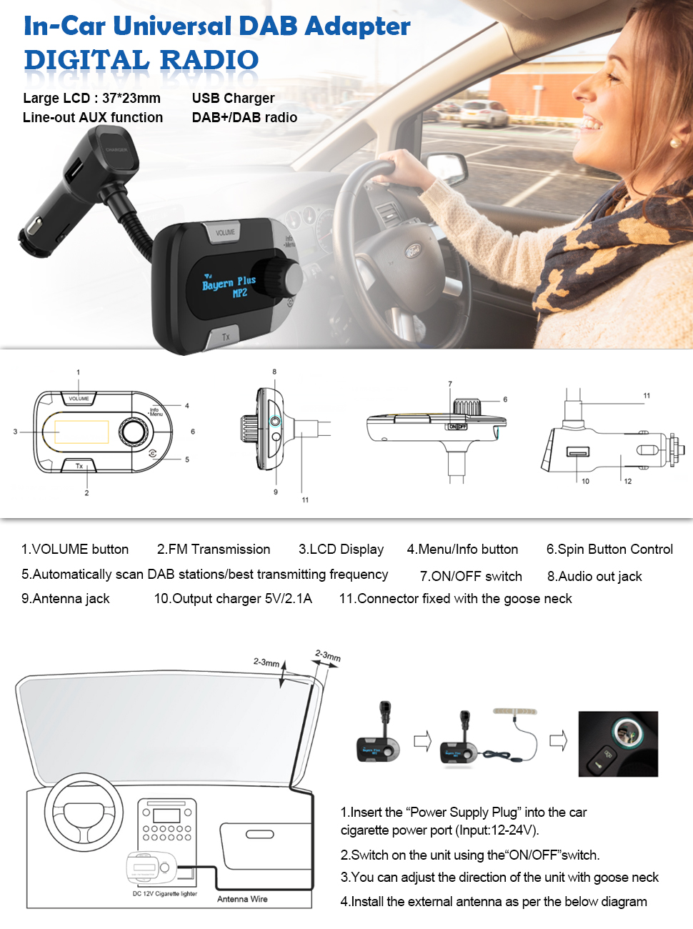 In Car Dab Digital Radio With Fm Transmitter Perbeat 12v Usb Charger Wiring Diagram Product Description