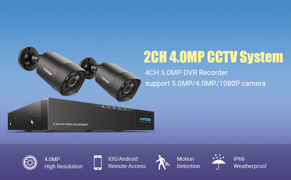 H.View Home Security Systems 4.0MP CCTV Systems Including 4 Channel ...