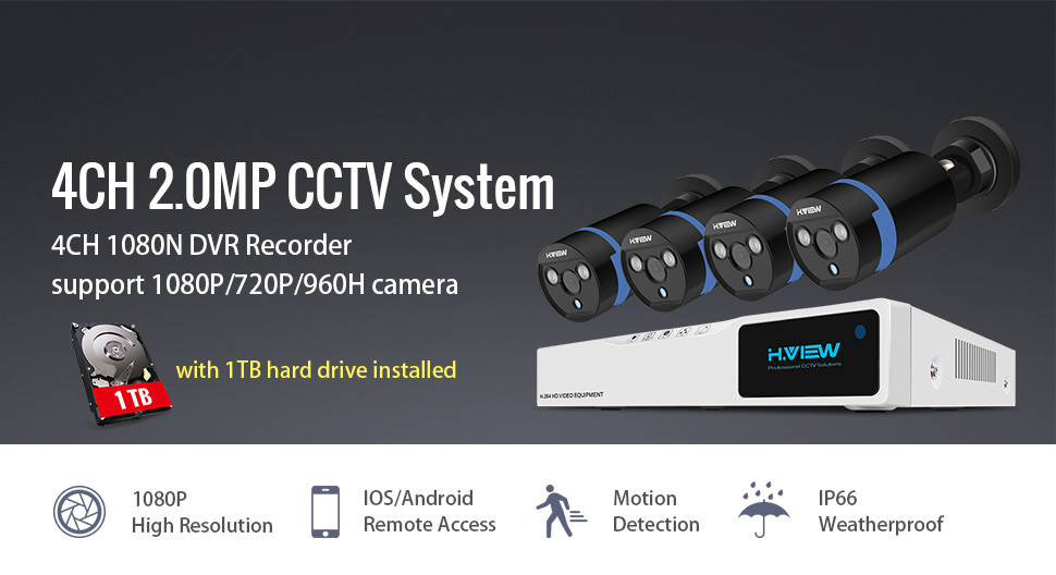 H View 4CH Home Security 1080P CCTV Camera Systems with Hard Drive (1TB) HD  Security Camera System Including 4x1080P CCTV Cameras and 4 Channel DVR