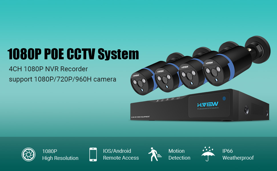 H View Home Security Hd 1080p Poe Nvr Cctv Security System