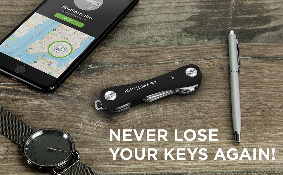keysmart pro compact pocket key keeper organizer black car remote fob door lock doorknob key chain