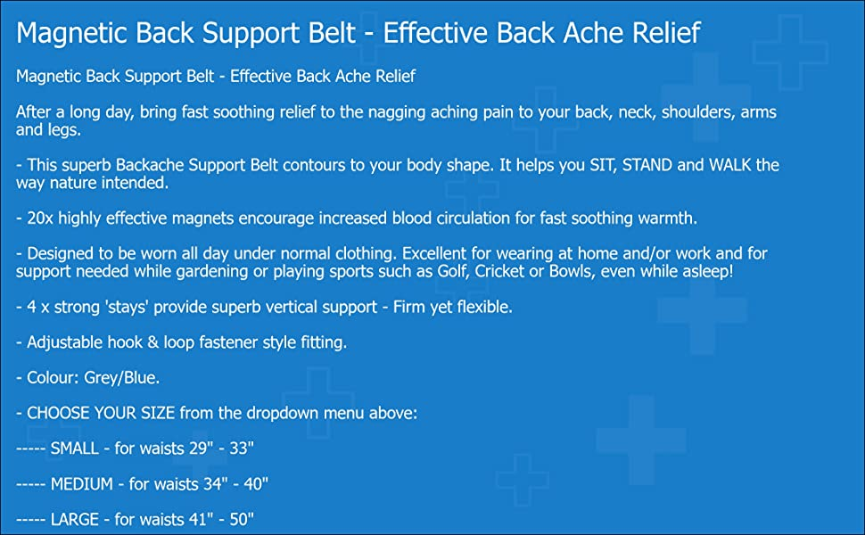 e5a69d97a4 Medipaq Magnetic Support Lower Back Belt Pain brace relief aching lumbar  spine