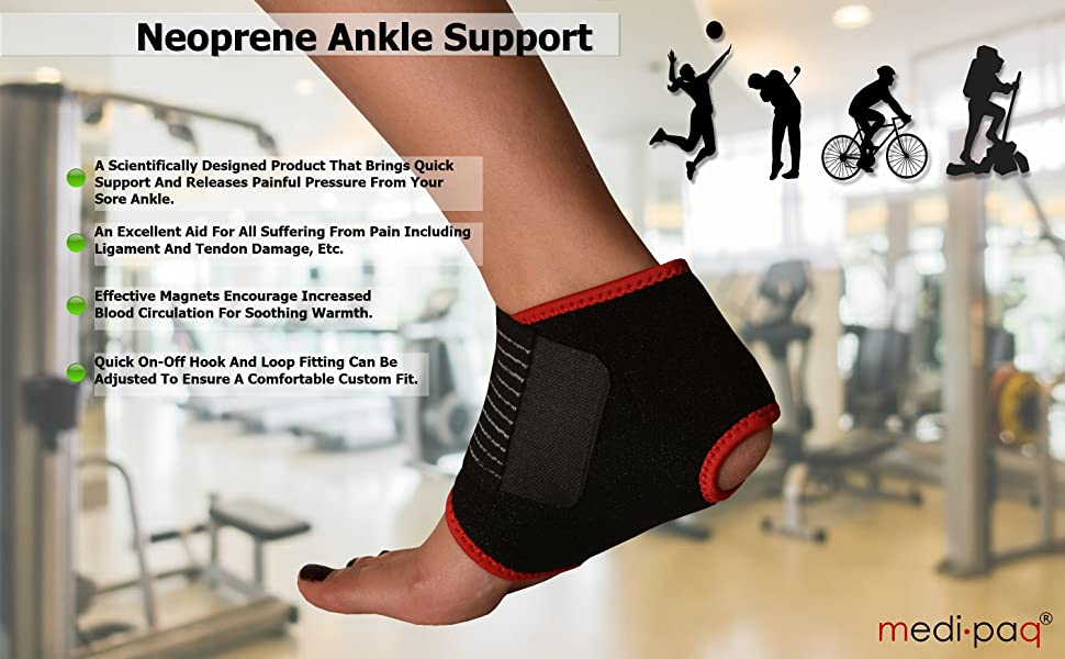 a0d72a8974 Neoprene Magnetic Ankle Support Adjustable medipaq pain brace sore ligament  tendon. ankle support