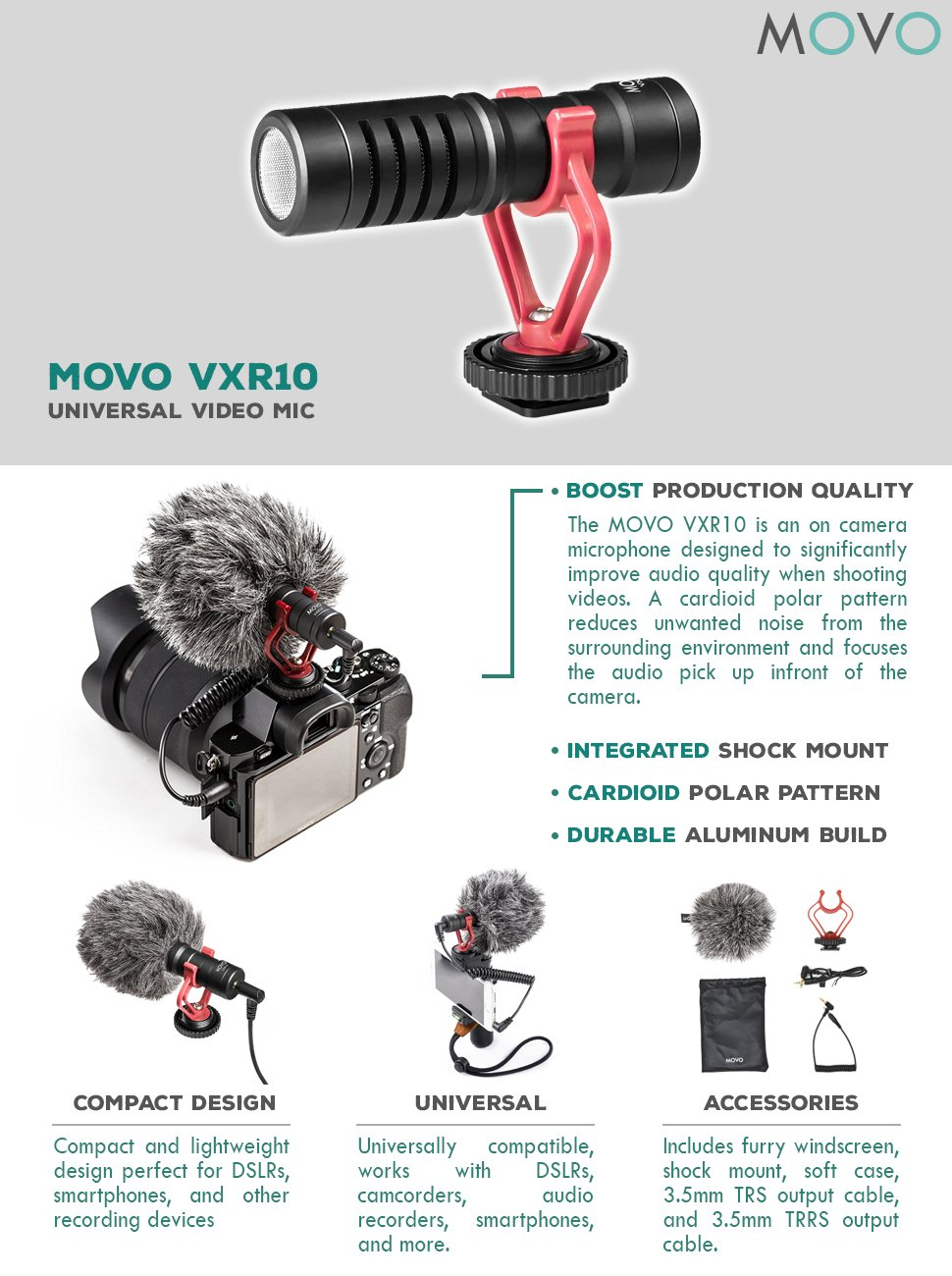 Deadcat Windscreen Movo VXR10 Universal Video Microphone With Shock Mount For
