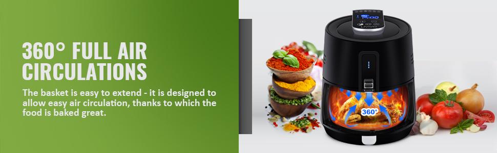 LIVIVO 3.6L Digital Hot Air Fryer Healthy Low Fat Rapid Cooker 1300W