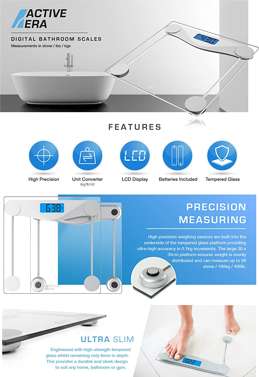 Active Era® Ultra Slim Digital Bathroom Scales With High