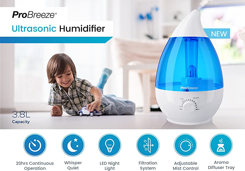 Pro Breeze 3 8l Large Ultrasonic Cool Mist Humidifier