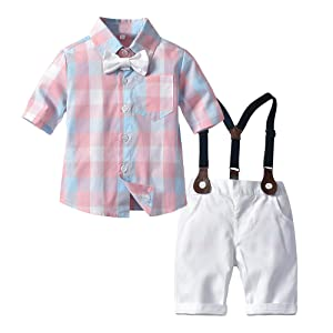 Suspenders Strap Shorts LEHOUR Baby Boys 2Pcs Christening Suits Bowtie Shirt Top Formal Kids Party Outfit Gentleman Clothing Sets 0-24 M