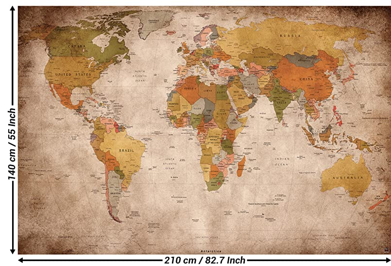 Great art photo wallpaper vintage world map quirky retro wall wallpaper used look wall picture decoration globe continents atlas world map earth geography retro old school vintage map i paperhanging wallpaper poster gumiabroncs Image collections