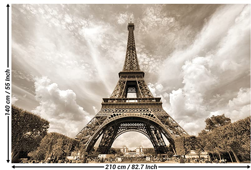 Eiffel Tower Paris Photo Wallpaper - Decorative Romantic XXL Wall Picture  Poster - Tour Eiffel Paris Wallpaper Wall Decoration 210 x 140 cm