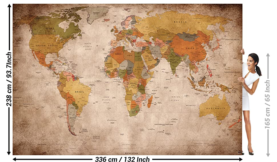 World Map Retro Wallpaper. Wallpaper used look  wall picture decoration Globe Continents Atlas World Map Earth Geography retro old school vintage map I paperhanging poster of the world