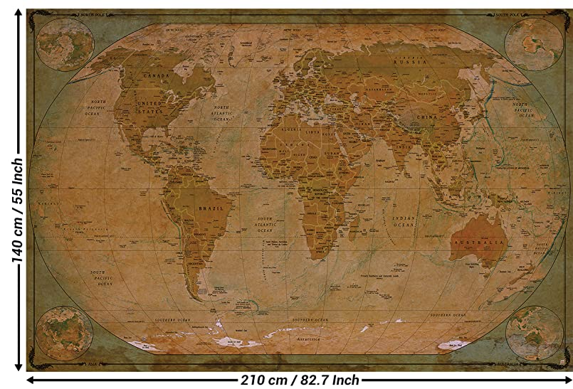 Wallpaper map of the world - wall picture decoration Historical ...