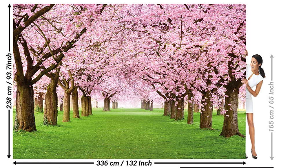 Flowers Spring Garden Plants Forest Park Nature Cherry Tree Blossom Avenue I Paperhanging Wallpaper Poster Wall Decor By GREAT ART 1323