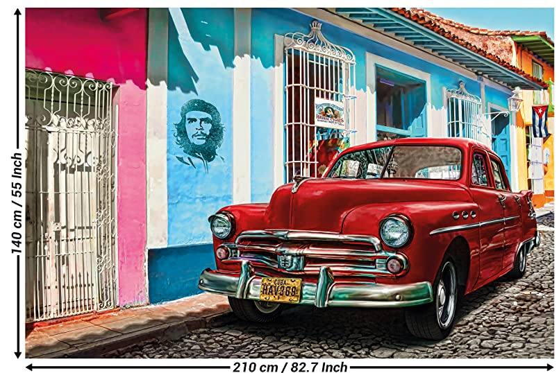 Cuba Wallpaper Pictures Decoration Old Timer Car Havana World Cultural Heritage Red Car La Habana Vieja City Che Guevara I Paperhanging Poster Wall