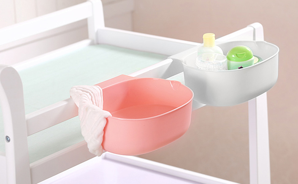 White HULISEN Newborn Nursery Organiser for Baby Crib Cot Diaper Changing Table Hanging Storage Box Infant Bedside