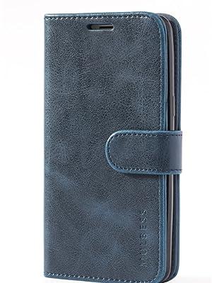 Mulbess Flip Cover per iPhone SE in Pelle Custodia e Blu nottee