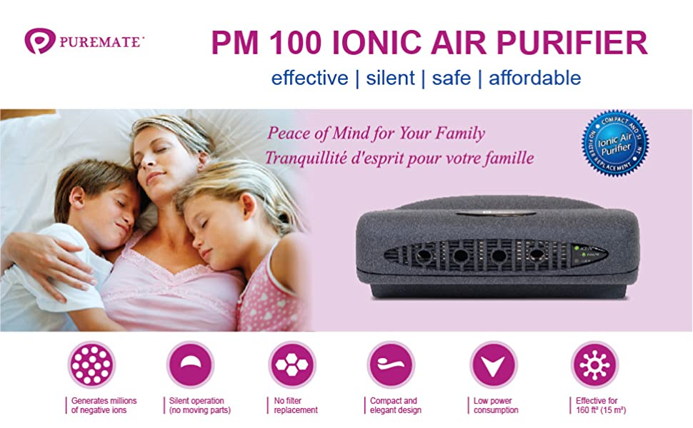 PureMate 6W Silent Ionic Air Purifier /& Ioniser Helps with Asthma Allergies Germ