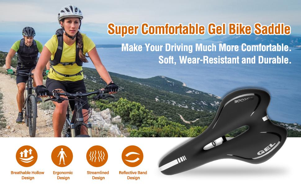 SGODDE Bike Saddle Professional Mountain Bike Gel Saddle MTB Bicycle Cushion Wat