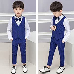 890a2a5c0 Baby Boys Outfits Suit 3pcs Waistcoat + Shirt + Pants Blazer Gentlemen  Wedding Christening Sets