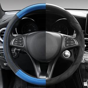 Istn Car Steering Wheel Cover Summer Helper Cool Black Beige Gray Steering Covers Car Styling Accessory Ice Silk Black