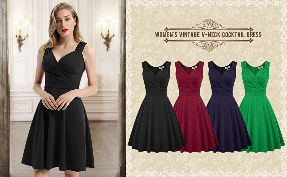 1950s rockabilly women a-line dress summer sleeveless knee length swing high tea dress