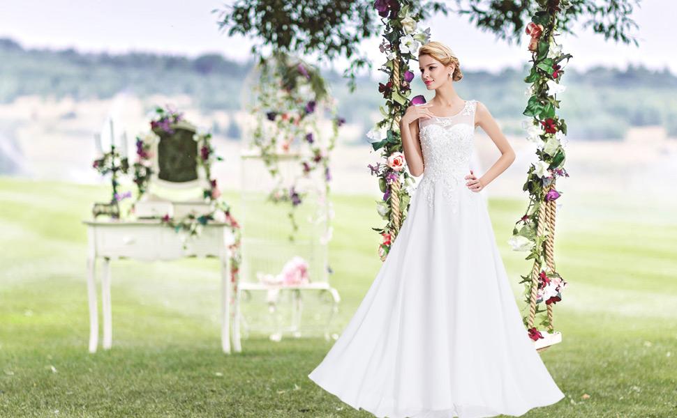 women wedding bridesmaid dress summer floor length chiffon a-line dress