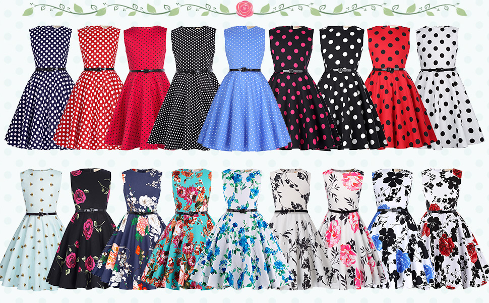 b84b91f608a22 Girls Sleeveless Round Neck Vintage Retro Cotton Floral Dress, Clothes are  clean and comfortable for Girls