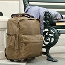 Handcrafted Waxed Trolley Canvas Laptop Bag Backpack Handbag Travel Luggage Organizer Women Men
