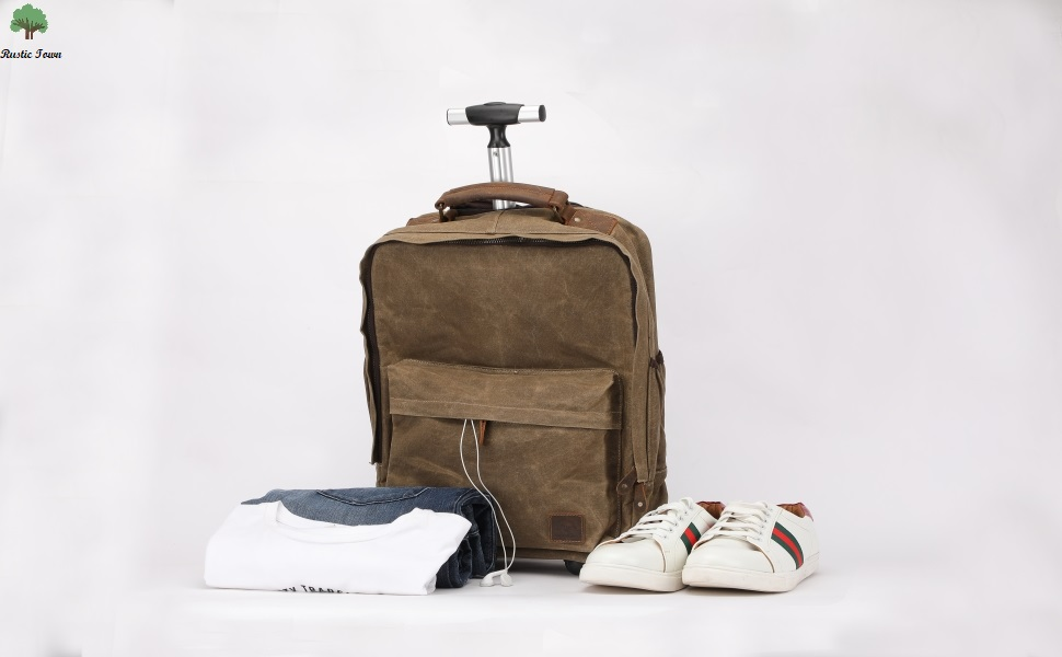 Handcrafted Waxed Trolley Canvas Laptop Bag Backpack Handbag Travel Luggage Organizer Women Men
