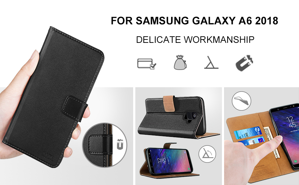 Samsung Galaxy A6 2018 Premium Leather Flip Wallet Phone Case Cover (Black)-2