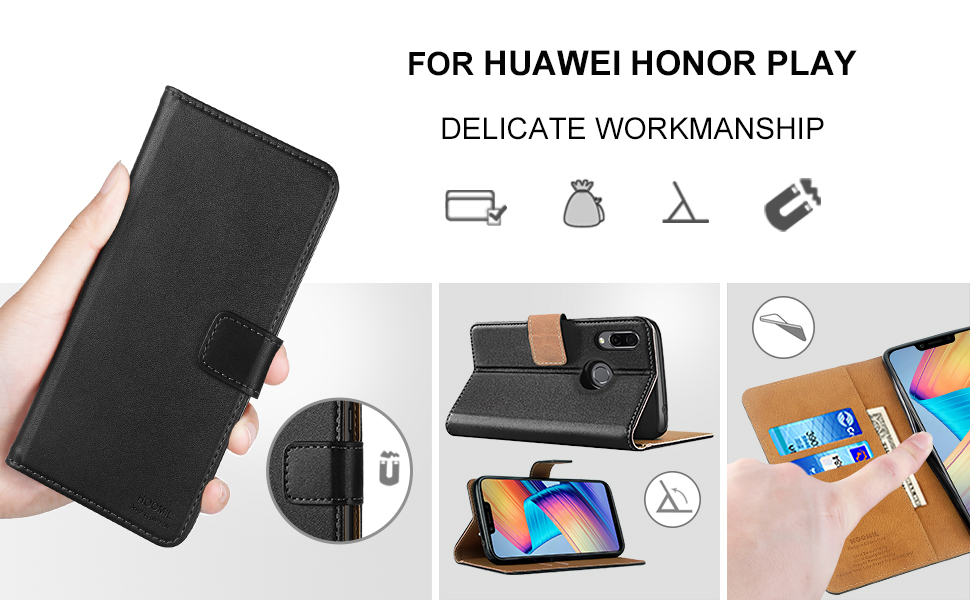 Huawei Honor Play Case,High Quality Wallet Business Phone Case Cover (Black)-2