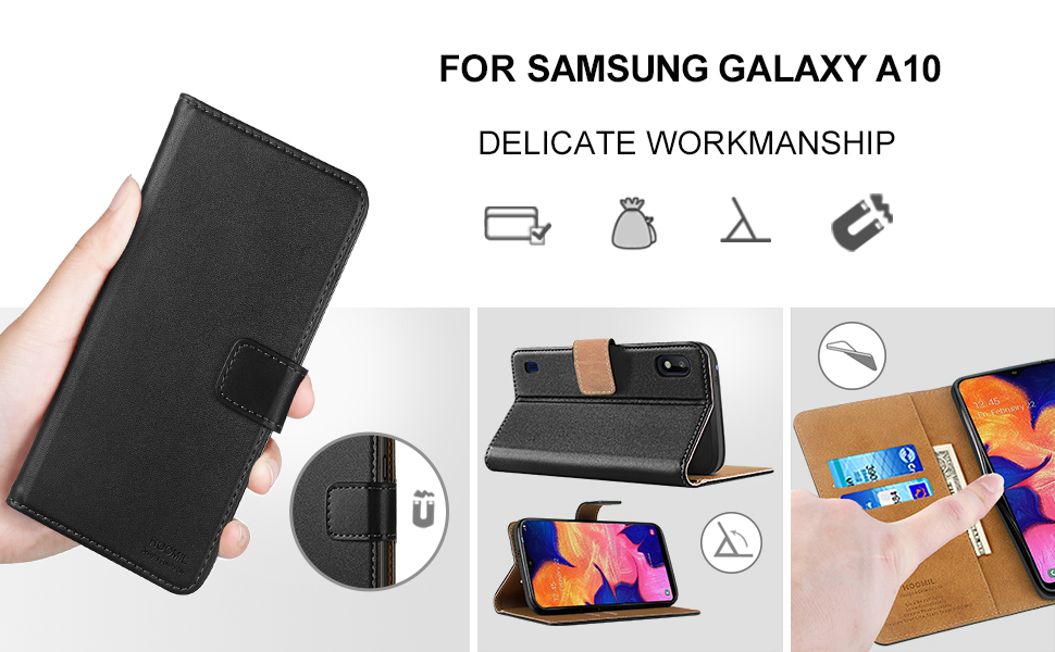 HOOMIL Premium Leather Flip Wallet Case with [Card Slots] [Kickstand Feature] [Magnetic Closure] For Samsung Galaxy A10 Devices - Black