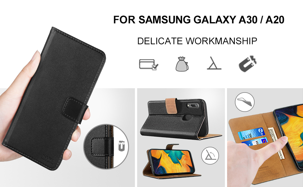 HOOMIL Case Compatible with Samsung Galaxy A30, Premium PU Leather Flip Wallet Phone Case for Samsung Galaxy A30/ Samsung Galaxy A20 Cover (Black)